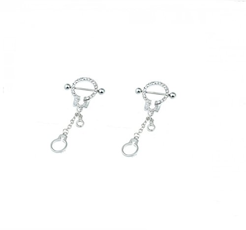 hyidealism pezón anillo bares Handcufs cuerpo piercing joyas par 14G se vende como par