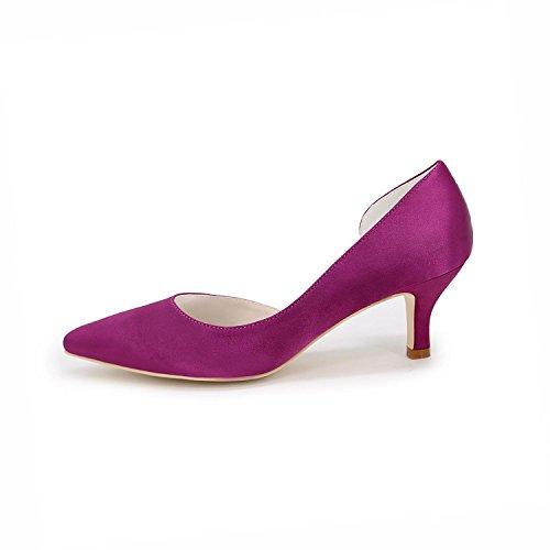 Wedding YC Satin Femme Dress Ouvert Party purple ÉTé L De Evening amp; Printemps automne Toe La Talons Hauts BgqHHnf7R