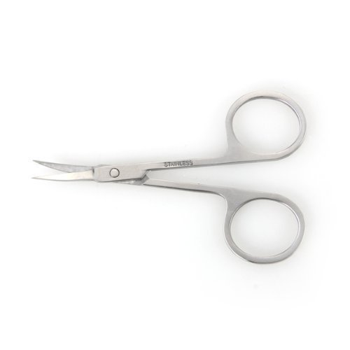 Stainless Steel Eyebrow Moustache Facial Nose Ear Hair Curved Edge Scissors by Vetmed USA