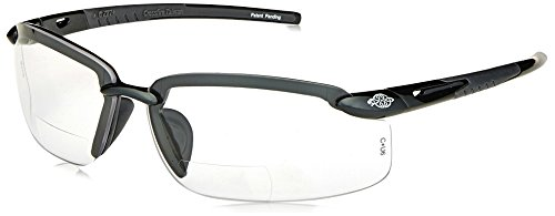 ES5 Reader Crossfire Safety Glasses Clear Diopter 2.0 Shiny Pearl Gray Frame