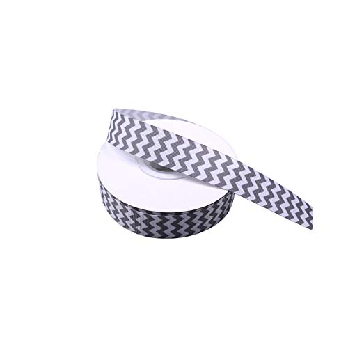 Grey and White Chevron Printed Grosgrain Ribbon, 1 Inch Christmas Fabric Ribbon for Hairbow Package Gift Wrapping Sewing Craft Wedding Holiday Party Decoration 25 Yards (Grey Fabric Chevron White)
