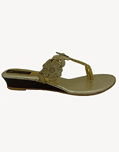 d2053b0802de Ladies Vegetarian Fancy Gold Floral Slippers by Senso  Buy Online at Low Prices  in India - Amazon.in