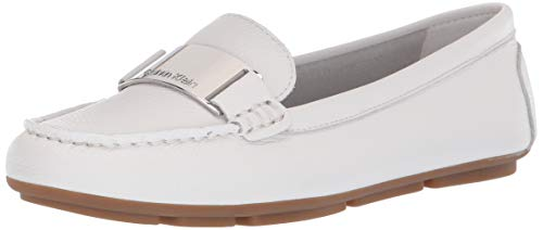 Calvin Klein Women's Lisette Loafer, White Tumbled Pascal Leather, 8.5 M - Footwear Leather White Tumbled