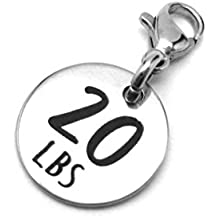 20 lbs Weight Loss Jewelry Charm - Motivational and Inspirational Jewelry for Fitness and Workout Motivation for Pounds Lost - Stainless Steel Engraved Charm and Clasp - Tarnish Free Charms