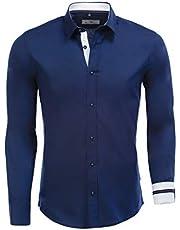 Karl´s People Herren Hemd Langarm Slim-Fit für Freizeit Business Hochzeit K-133