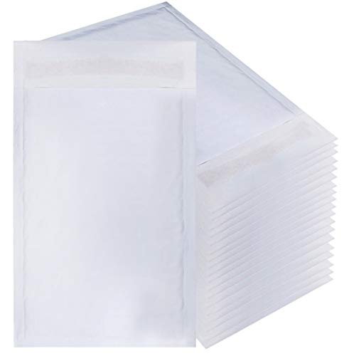 White Kraft Bubble mailers 5x9 Padded envelopes 5 x 9 by Amiff. Pack of 20 Kraft Paper Cushion envelopes. Exterior Size 5x10 (5 x 10). Peel and Seal. Mailing, Shipping, ()
