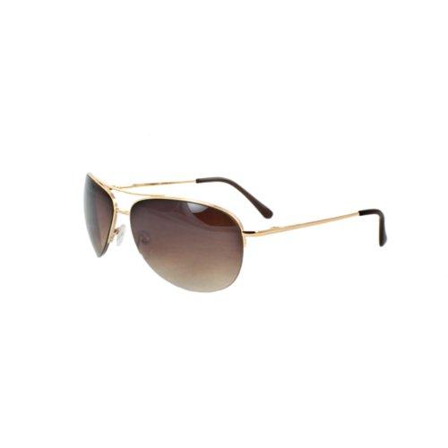 MLC Eyewear Pilot Fashion Aviator 669GDAM Sunglasses Semi-Rimless on Gold Frame and Amber Gradient Lenses for Men and Women