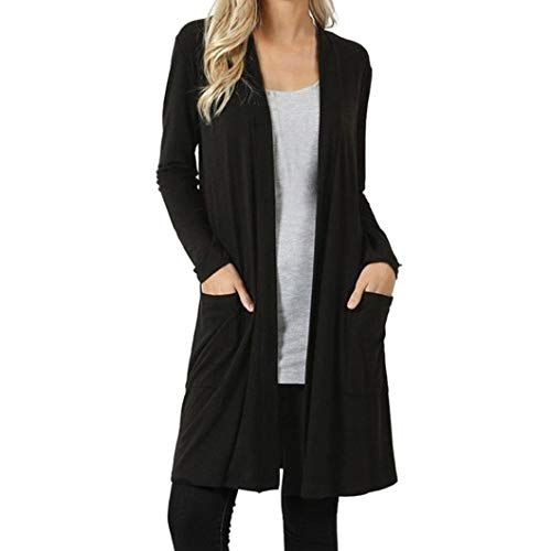 iYBUIA Womens Open Front Fly Away Cardigan Sweater Long Sleeve Plus Pockets Loose Drape(Black,XXL) from iYBUA