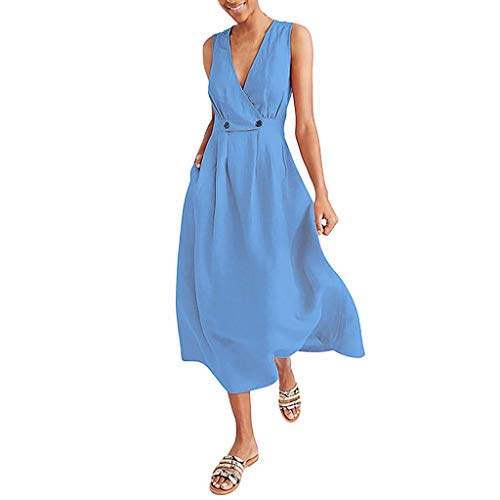 (Wobuoke Fashion Women V-Neck Pure Color Vest Sleeveless Button Easy Sandy Beach Dress Blue)