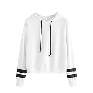 SweatyRocks Sweatshirt Girls Pullover Fleece Drop Shoulder Striped Hoodie for Girl White S