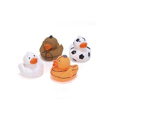 (24) Assorted Sports Rubber Duckies ~ Fun Bathtime 2'' Rubber Duckies ~ Baseball Football Soccer Basketball ~ Birthday Party Favors ~ Coach League Prizes ~ Bathtime fun ~ New