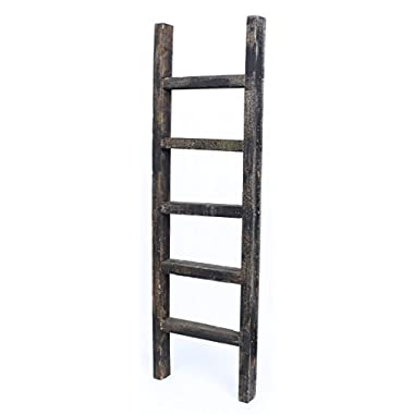 BarnwoodUSA Rustic 4 Foot Decorative Wooden Ladder - 100% Reclaimed Wood, Black