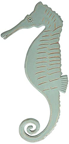 Primitives by Kathy Wooden Seahorse, 8 by 18.25-Inch, Teal - Seahorse Wall Decor