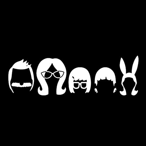 DECAL-STYLE - 18.9cmx5.8cm Bob'S Burger Family Cartoon Car Sticker Fashion Car Styling Black/Silver S3-5358