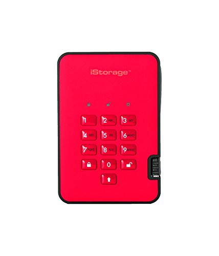 iStorage IS-DA2-256-5000-R 5TB diskAshur2 USB 3.1 secure portable encrypted hard drive - Fiery Red
