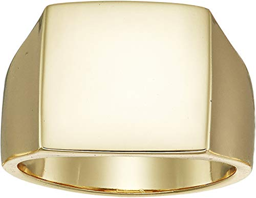 SHASHI Women's Square Signet Ring Yellow Gold 3