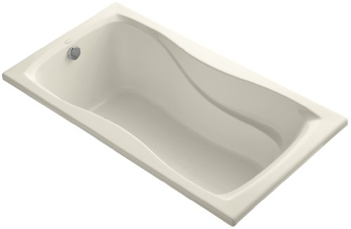 KOHLER K-1219-47 Hourglass 60-Inch by 32-Inch Drop-In Bath with Reversible Drain, Almond