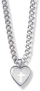 9/16 Inch Sterling Silver Cross on Heart Locket Necklace | Pendant | Material: .925 Sterling Silver | Chain Length: 18 Inches | Christian Jewelry