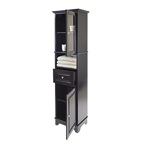 Pemberly Row Tall Cabinet with Glass Door and Drawer in Black Finish