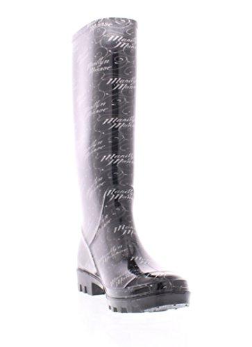 Marilyn Monroe Femmes Chaussures De Pluie De Base Haute, Imperméable À Leau Gelée Bottes En Caoutchouc Gelée Bottes En Caoutchouc Noir Signature Imprimer