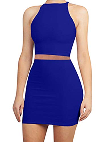 LAGSHIAN Women's Sexy 2 Piece Outfits Crop Top Skirt Set Bodycon Mini Club Dress Royal Blue