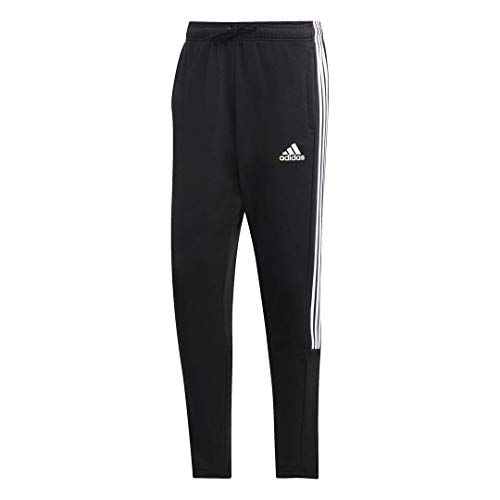 adidas Men's 3-Stripes Tiro Fitted Pants, Black/White, Medium