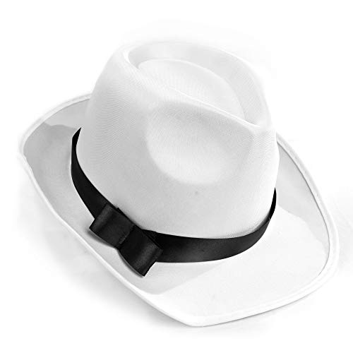 White Gangster Fedora Hat - One Size with Premium Fit Elastic Band