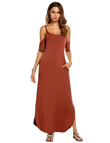 ACEVOG Women's Off-The-Shoulder Half Sleeve Maxi Dress With Side Pockets (R,XL) (Dress Strappy Shoulder)