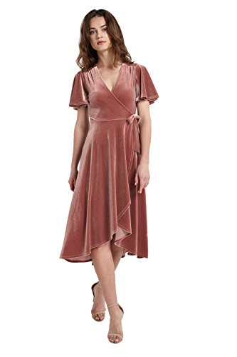 Swing Knot Dress (Women's Short Sleeve V Neck Midi Mock Wrap Knot Tie Velvet Swing Dress USA Mauve M)