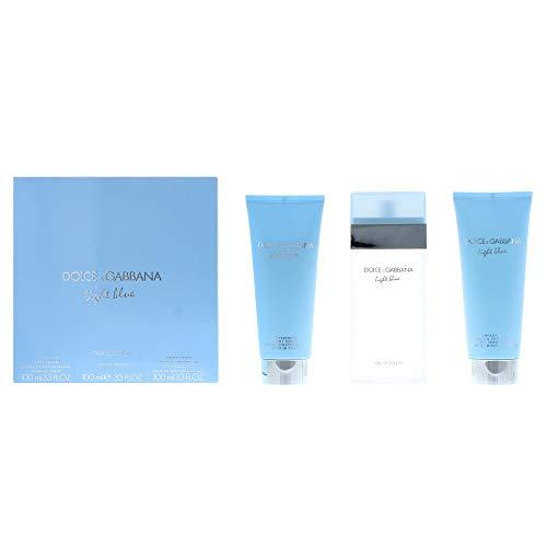 Light Blue by Dolce & Gabbana for Women 3 PC Set (3.3 EDT Spray + 3.3 Body Cream + 3.3 Shower Gel)