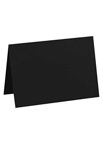 Correspondence Cards Casual (A7 Folded Card (5 1/8 x 7) - Black Linen (50 Qty)   Perfect for Personal Stationery, Invitation Suite Inserts & Casual Correspondence!   5040-BLI-50)