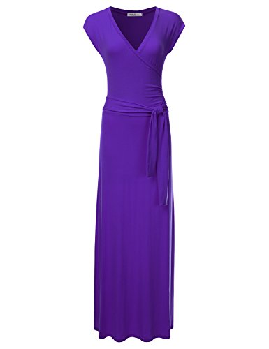 Crossover Maxi Dress with Waist Wrap PURPLE M (Purple Soft Dress)
