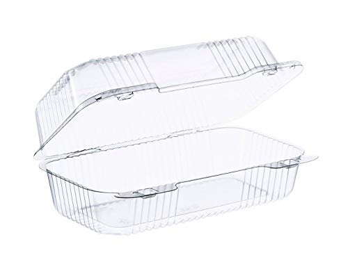 Dart Clear Hinged Lid Plastic Container 9 x 5 3/8 x 3 1/2 (Pack of 50) ()