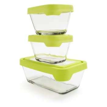 Anchor Hocking TrueSeal Glass Food Storage Containers with Airtight Lids, Green, 6-Piece Set