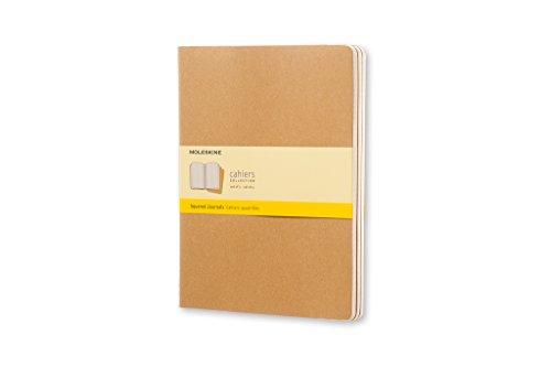 Moleskine Cahier Journal (Set of 3), Extra Large, Squared, Kraft Brown, Soft Cover (7.5 x 10) by Moleskine