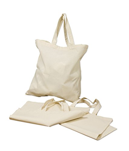 Georgiabags Best Deal! (3 Pack) Basic Reusable Cotton Tote Bags, Great for PROMOTIONAL GIFTS, DIY CRAFT & ARTS, PARTY FAVOR BAGS, SHOPPING GROCERY BAGS