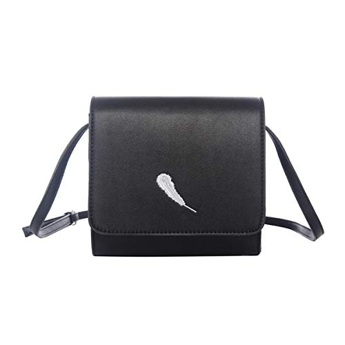 Unbranded Womens/Ladies Embroidery Feather Crossbody Bag (One Size) (Black)