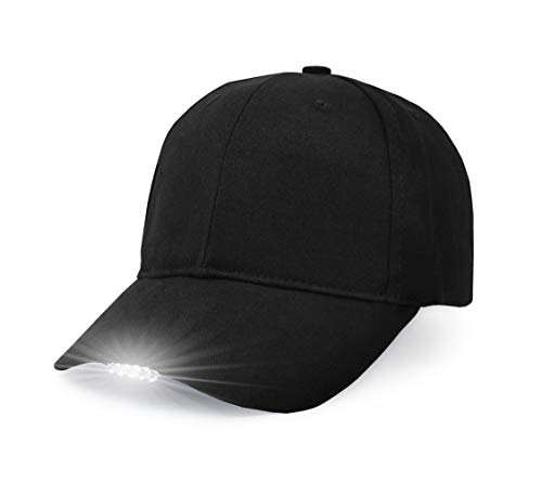 UltraKey Hands Free LED Baseball Cap Light Glow Bright Women Men Sport Hat Dark for Outdoor Jogging Breathable Snapback Hats Hip Hop Party Holiday(Black) -