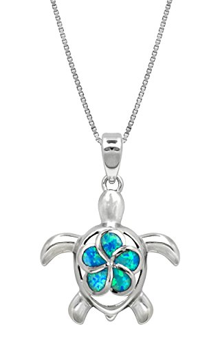 Honolulu Jewelry Company Sterling Silver Turtle Necklace Pendant with Simulated Blue Opal Flower 18