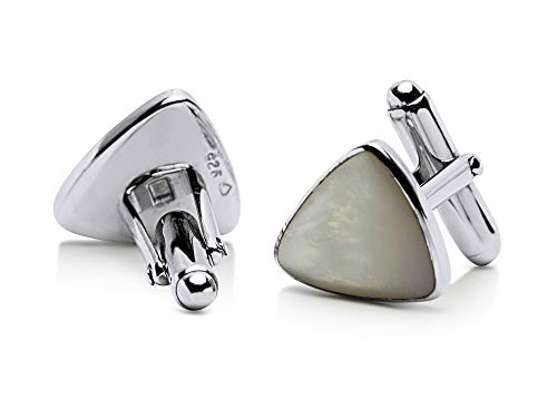 Sterling Silver Triangular Mother of Pearl - Cufflinks Link Of Pearl Mother