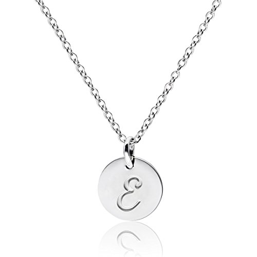 Three Keys Jewelry Stainless Steel Silver Tone Initial Alphabet Disc Pendant Necklace 18