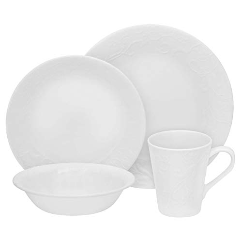 Corelle Embossed Bella Faenza 16-Pc Dinnerware Set, White (Corelle Embossed Dinnerware)
