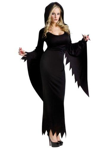 Fun World Women's Hooded Gown, Black, M/L Size 10-14 ()