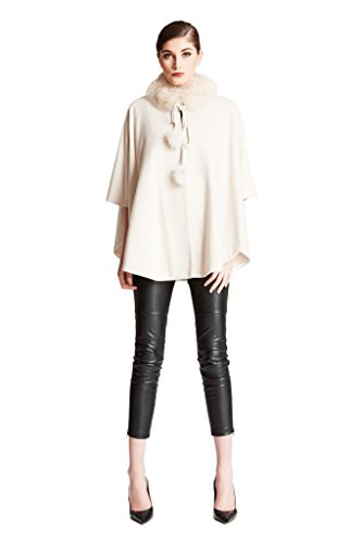 Cashmere Pashmina Group:Cashmere Cape w/genuine Fox Fur Collar & Fox pompom ties (Ivory)