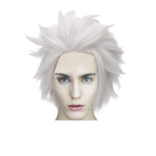 Wgior Anime Natural as Real Hair Styled Synthetic Halloween Cosplay Costume Party Daily Short Wigs (white1) -