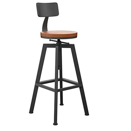 DR  Bar stools Wrought Iron High Stool Solid Wood Bar Stool Round Rotating Lift Bar Chair Bar stools (Color : - Tall Iron Bar Stools Wrought