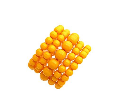 Fashion 21 Women's Simulated Pearl Stretch Bracelet Stack 5 Piece Set (Yellow) Bangle Yellow Jewelry Set