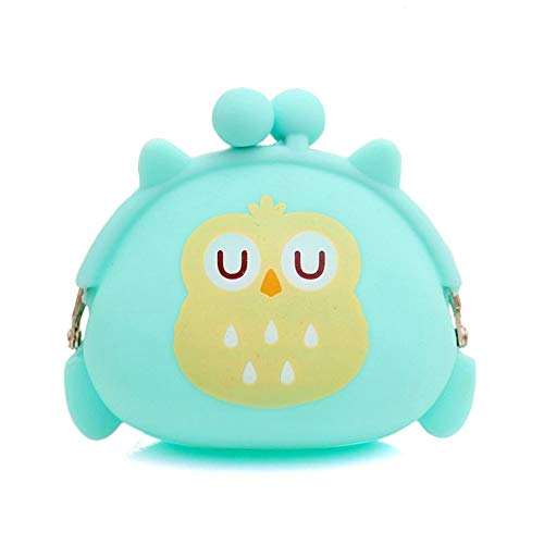 arance,Women Owl Silicone Jelly Wallet Change Bag Key Pouch Coin Purse Green ()