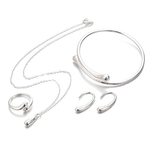 Lantusi Women Fashion Jewelry Set Silver Water Drop Necklace Earring Ring Bangle Set Jewelry Sets