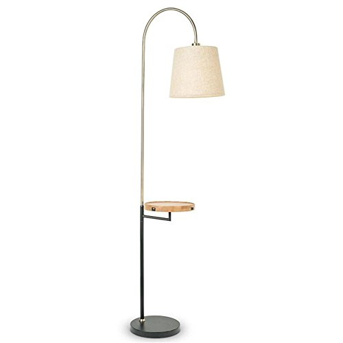 DHXY Modern Floor Lamp Fabric Lampshade Wooden Panel Shelves Contemporary Standing Reading Light Lamp With With USB Interface And button switch For Bedroom Living - Oak Iron Mini Holder